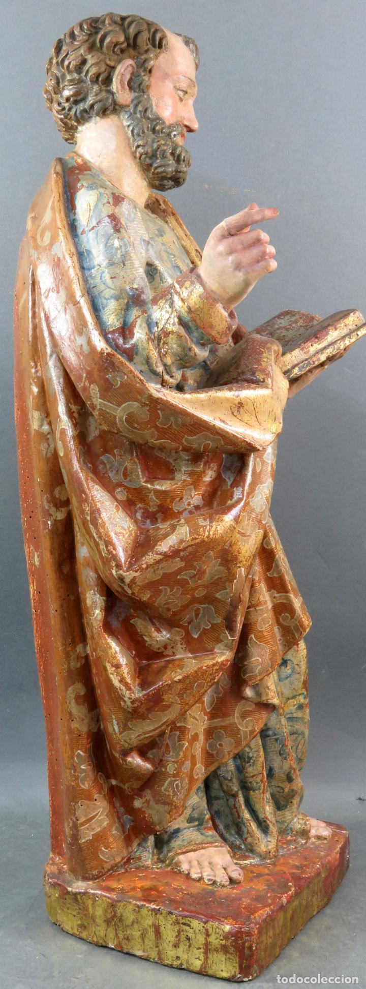Arte: Talla San Pedro en madera estofada dorada y policromada seguidor de Gregorio Fernandez siglo XVI - Foto 5 - 159655938