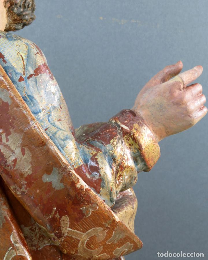Arte: Talla San Pedro en madera estofada dorada y policromada seguidor de Gregorio Fernandez siglo XVI - Foto 6 - 159655938