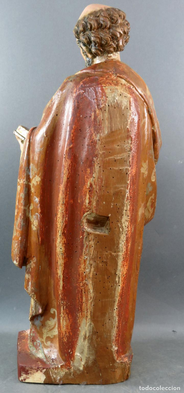 Arte: Talla San Pedro en madera estofada dorada y policromada seguidor de Gregorio Fernandez siglo XVI - Foto 8 - 159655938