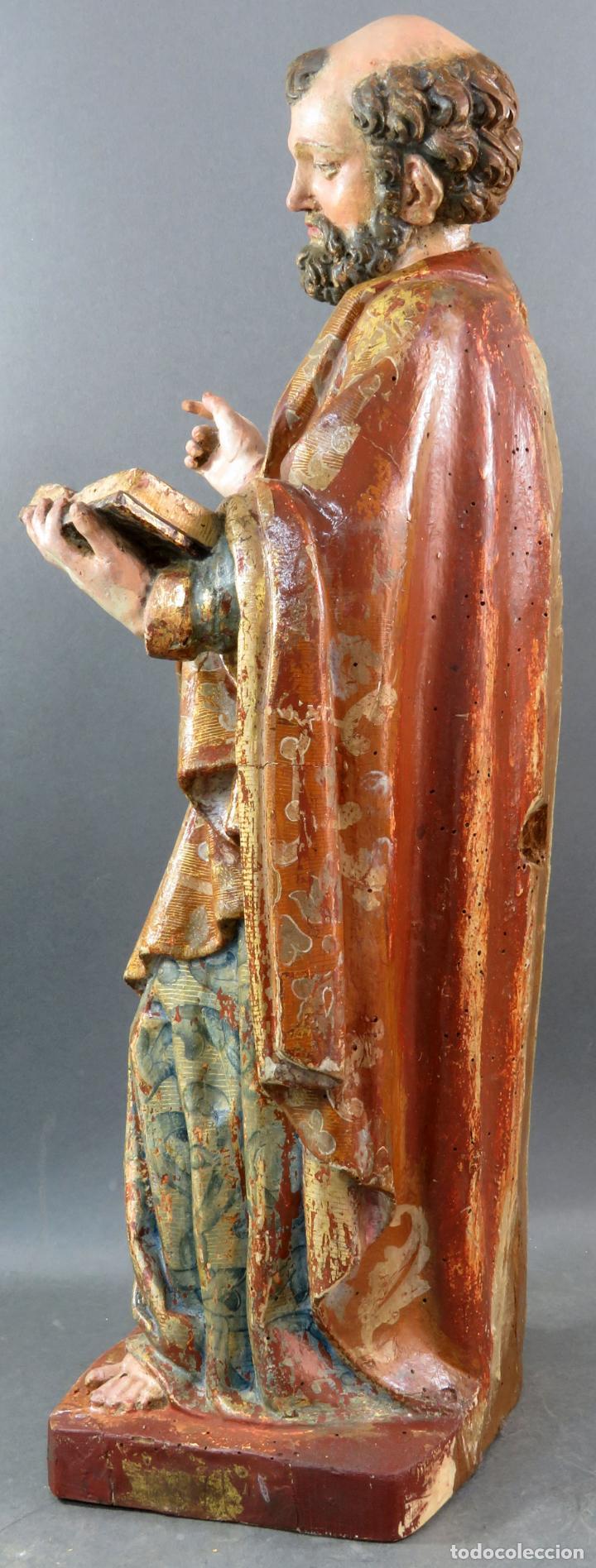 Arte: Talla San Pedro en madera estofada dorada y policromada seguidor de Gregorio Fernandez siglo XVI - Foto 10 - 159655938