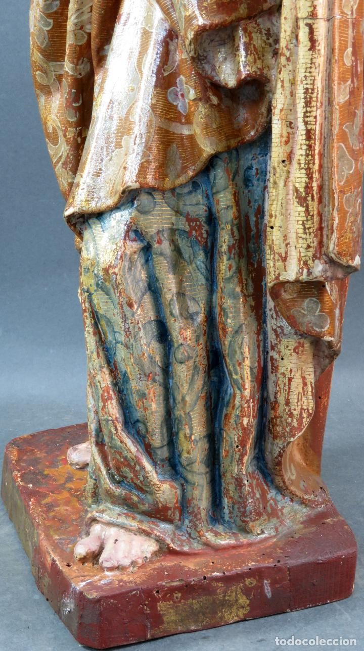 Arte: Talla San Pedro en madera estofada dorada y policromada seguidor de Gregorio Fernandez siglo XVI - Foto 11 - 159655938