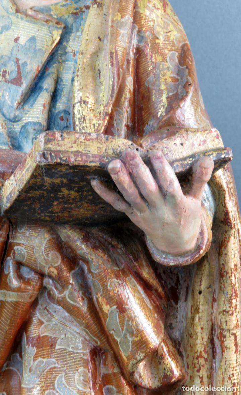Arte: Talla San Pedro en madera estofada dorada y policromada seguidor de Gregorio Fernandez siglo XVI - Foto 12 - 159655938