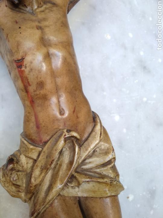 Arte: Cristo crucificado cruz talla madera siglo XIX - Foto 5 - 159726381