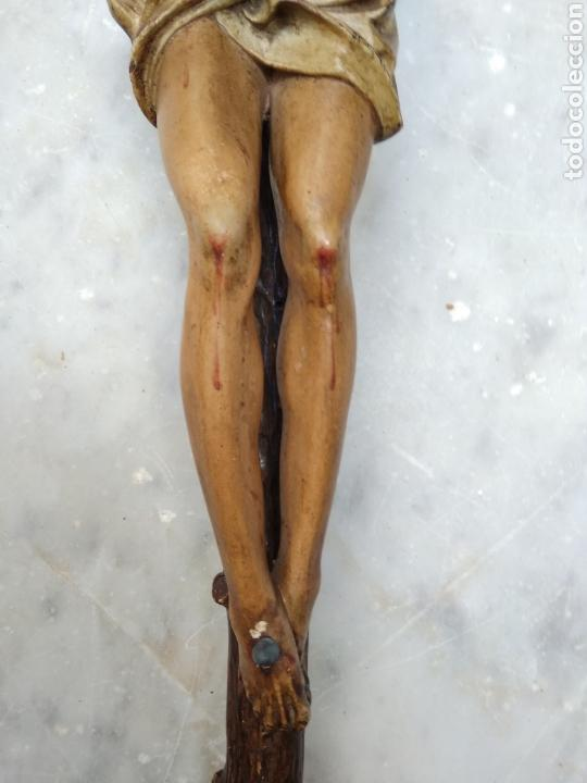 Arte: Cristo crucificado cruz talla madera siglo XIX - Foto 13 - 159726381