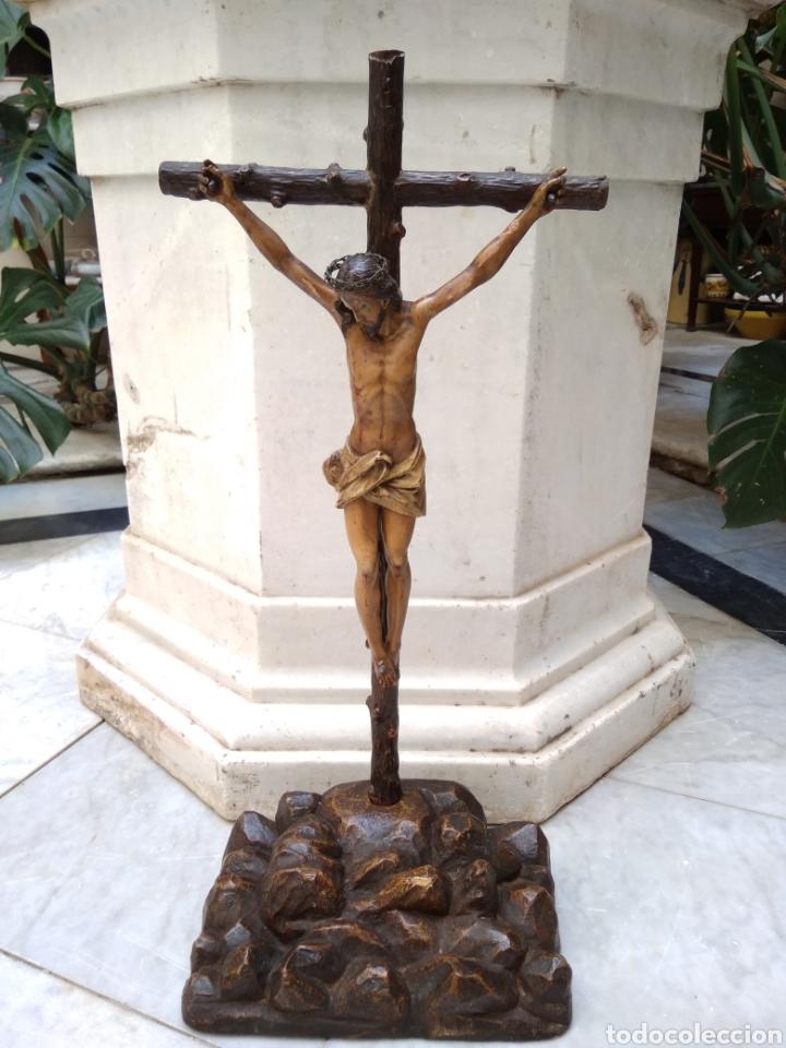 CRISTO CRUCIFICADO CRUZ TALLA MADERA SIGLO XIX (Arte - Arte Religioso - Escultura)