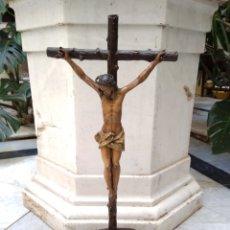 Arte: CRISTO CRUCIFICADO CRUZ TALLA MADERA SIGLO XIX. Lote 159726381