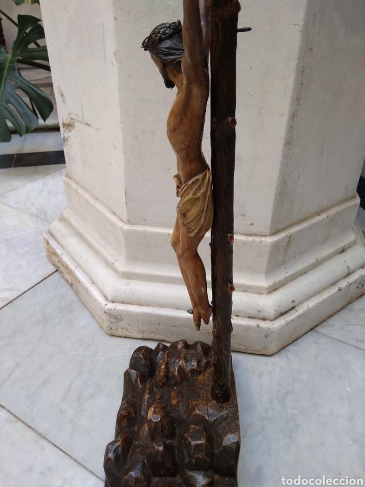 Arte: Cristo crucificado cruz talla madera siglo XIX - Foto 11 - 159726381