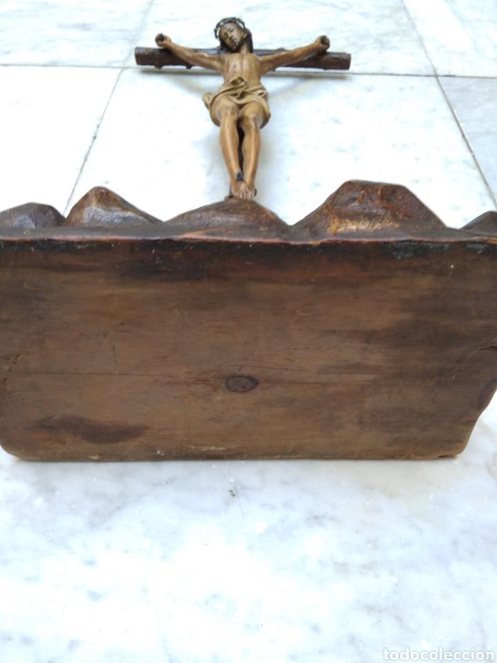 Arte: Cristo crucificado cruz talla madera siglo XIX - Foto 7 - 159726381