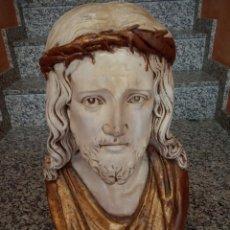 Arte: CRISTO EN ESTUCO. GRAN TAMAÑO. PINTADO CON PAN DE ORO. +17KG. Lote 159820954