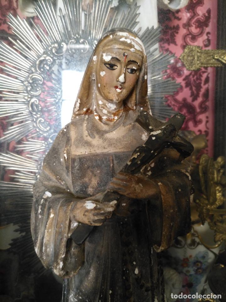 Arte: gran ESCULTURA OLOT O SIMILAR CON SELLO , SANTA RITA DE CASIA - VERTOS 42 CM - Foto 6 - 159849690