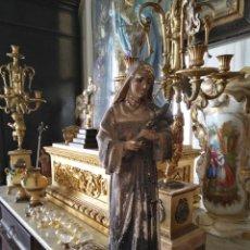 Arte: GRAN ESCULTURA OLOT O SIMILAR CON SELLO , SANTA RITA DE CASIA - VERTOS 42 CM . Lote 159849690