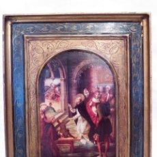 Arte: ANTIGUO ICONO XIX, ICONO RELIGIOSO, ICONO SANTO DOMINGO, LITOGRAFÍA ICONO PEDRO BERRUGUETE, 30 X 39 . Lote 159875010