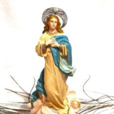 Arte - Estatua Virgen Inmaculada Concepción, 24 cm, Escultura Virgen Escayola - 159882398