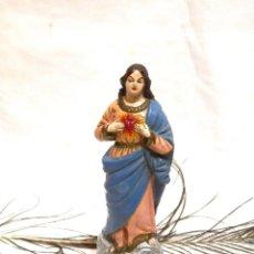 Arte: VIRGEN MARÍA 19'5 CM, VIRGEN XIX, SAGRADO CORAZÓN, ESCULTURA TERRACOTA, ESCULTURA FRANCESA. Lote 165353293