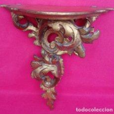Arte: PEANA ISABELINA S. XIX. EN MADERA TALLADA, ESTUCADA Y DORADA AL ORO FINO. DIM.- 26X13X23 CMS.. Lote 159907542