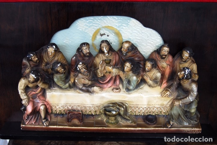 Arte: RETABLO O RELIEVE DE LA ULTIMA CENA EN ESTUCO POLICROMADO Y MADERA FIRMADO POR VILAMITJANA - Foto 21 - 159983106