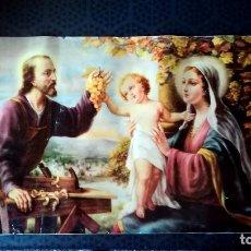 Arte: BONITA LITOGRAFIA RELIGIOSA ANTIGUA - NIÑO JESUS , SAN JOSE Y LA VIRGEN - AÑOS 50 -TAMAÑO 80 X 37 CM. Lote 160052262