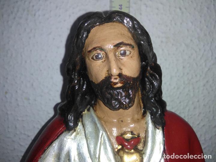 Arte: SAGRADO CORAZÓN DE JESÚS cristo SENTADO SOBRE EL TRONO ojos cristal 40 cms - Foto 2 - 160381610
