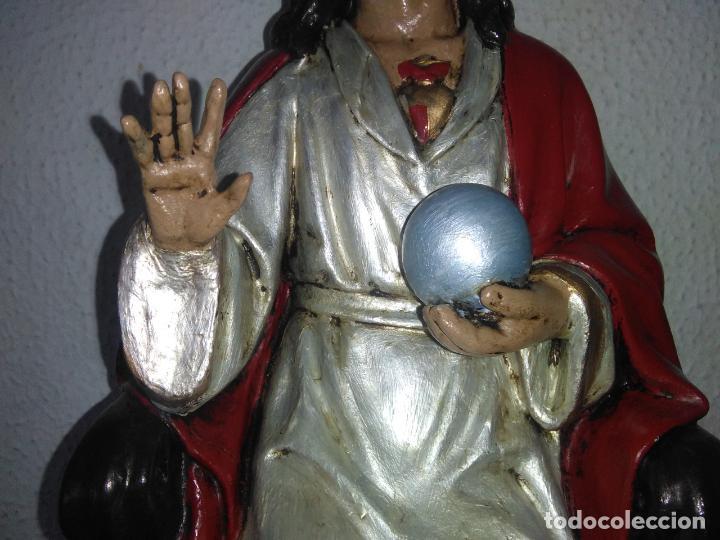 Arte: SAGRADO CORAZÓN DE JESÚS cristo SENTADO SOBRE EL TRONO ojos cristal 40 cms - Foto 5 - 160381610