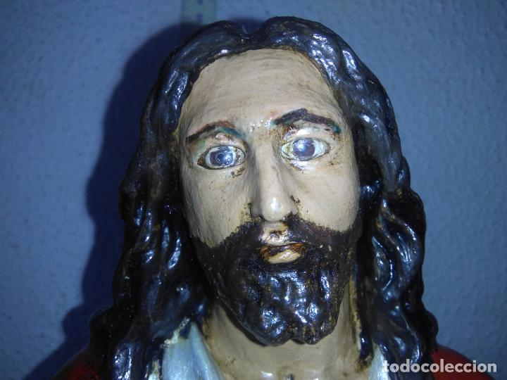 Arte: SAGRADO CORAZÓN DE JESÚS cristo SENTADO SOBRE EL TRONO ojos cristal 40 cms - Foto 31 - 160381610