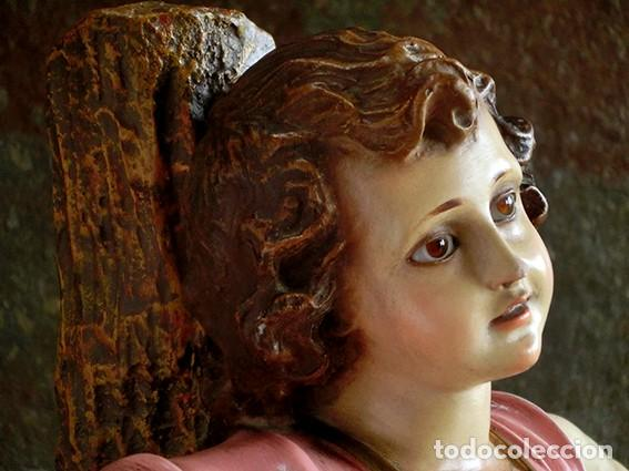 ARTE RELIGIOSO - PRECIOSO NIÑO EN LA CRUZ - SAN ANTONIO MARÍA CLARET - OJOS DE CRISTAL - OLOT (Arte - Arte Religioso - Escultura)
