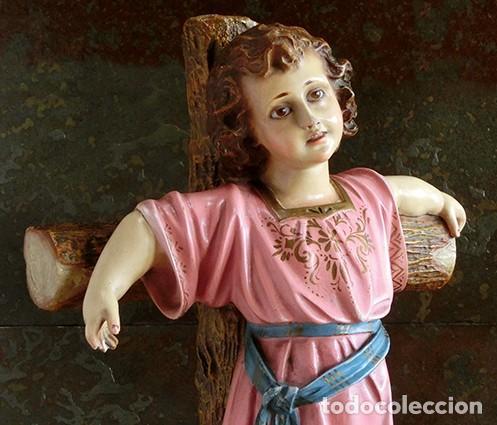 Arte: ARTE RELIGIOSO - PRECIOSO NIÑO EN LA CRUZ - SAN ANTONIO MARÍA CLARET - OJOS DE CRISTAL - OLOT - Foto 7 - 160395582