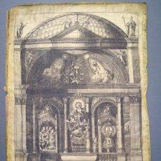 Arte: GRABADO EN SEDA TABERNÁCULO S .XVIII-XIX.ZARAGOZA.VIRGEN DEL PILAR.ALZADO SANTA CAPILLA.. Lote 160458570