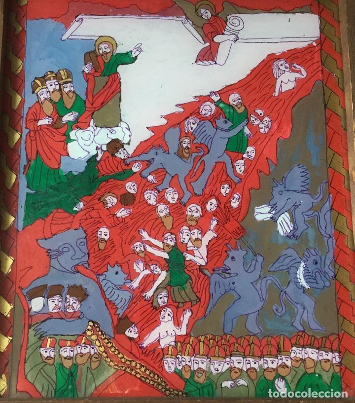TÉCNICA MIXTA CON REPRODUCCIÓN DE MINIATURA DE TEMÁTICA RELIGIOSA (Arte - Arte Religioso - Pintura Religiosa - Otros)