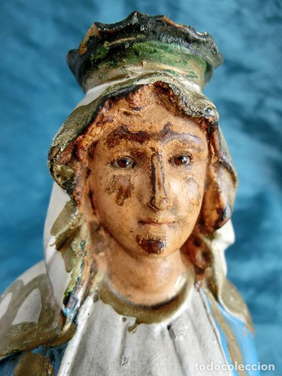 ANTIGUA VIRGEN MILAGROSA - SELLO OLOT - OJOS D CRISTAL - BASE DE MADERA - SERPIENTE - ARTE RELIGIOSO (Arte - Arte Religioso - Escultura)