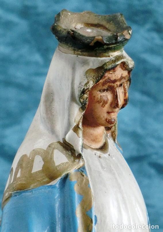 Arte: ANTIGUA VIRGEN MILAGROSA - SELLO OLOT - OJOS D CRISTAL - BASE DE MADERA - SERPIENTE - ARTE RELIGIOSO - Foto 7 - 160636490