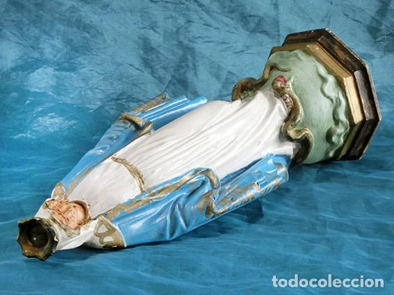 Arte: ANTIGUA VIRGEN MILAGROSA - SELLO OLOT - OJOS D CRISTAL - BASE DE MADERA - SERPIENTE - ARTE RELIGIOSO - Foto 8 - 160636490
