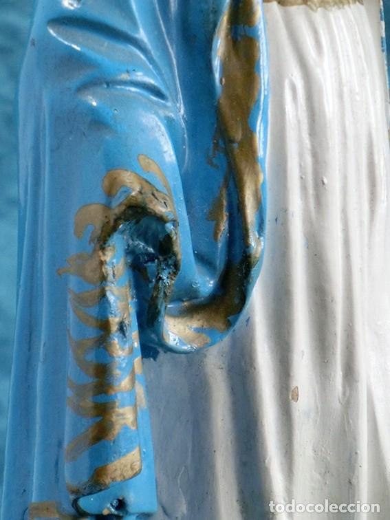 Arte: ANTIGUA VIRGEN MILAGROSA - SELLO OLOT - OJOS D CRISTAL - BASE DE MADERA - SERPIENTE - ARTE RELIGIOSO - Foto 9 - 160636490