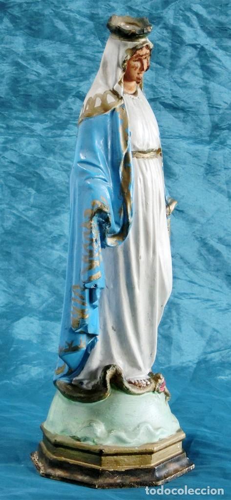 Arte: ANTIGUA VIRGEN MILAGROSA - SELLO OLOT - OJOS D CRISTAL - BASE DE MADERA - SERPIENTE - ARTE RELIGIOSO - Foto 11 - 160636490