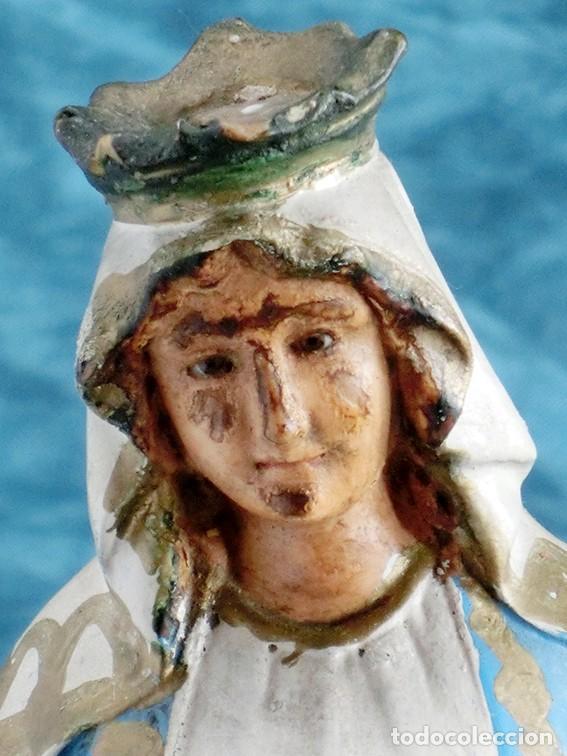 Arte: ANTIGUA VIRGEN MILAGROSA - SELLO OLOT - OJOS D CRISTAL - BASE DE MADERA - SERPIENTE - ARTE RELIGIOSO - Foto 12 - 160636490