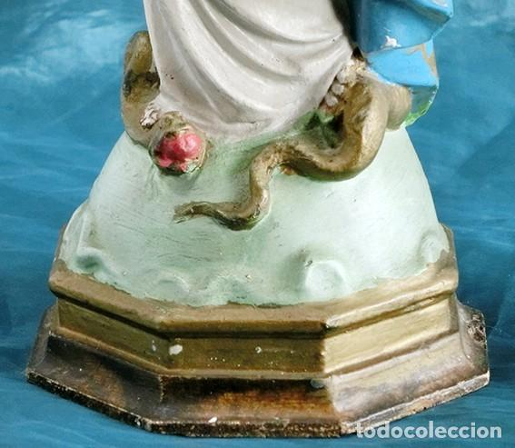 Arte: ANTIGUA VIRGEN MILAGROSA - SELLO OLOT - OJOS D CRISTAL - BASE DE MADERA - SERPIENTE - ARTE RELIGIOSO - Foto 18 - 160636490