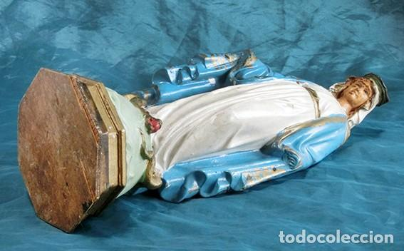 Arte: ANTIGUA VIRGEN MILAGROSA - SELLO OLOT - OJOS D CRISTAL - BASE DE MADERA - SERPIENTE - ARTE RELIGIOSO - Foto 19 - 160636490