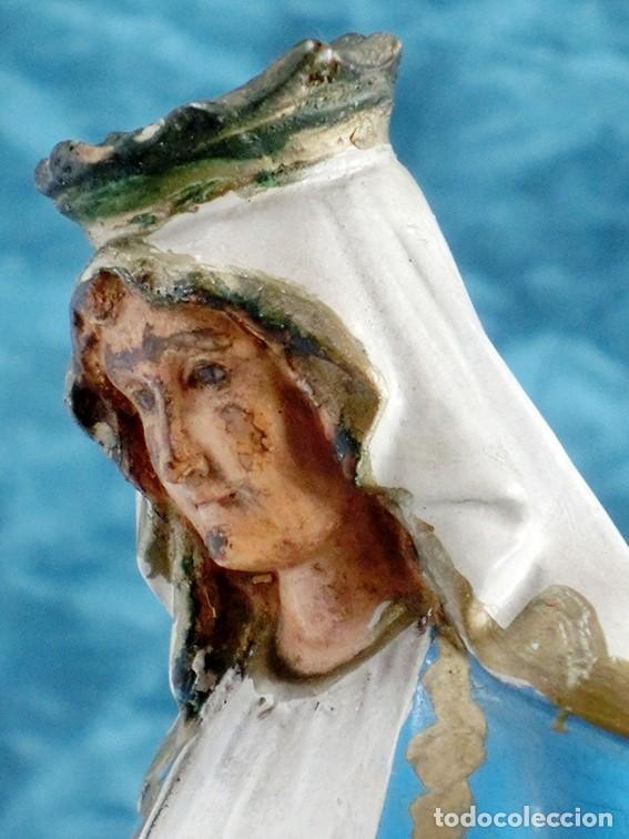 Arte: ANTIGUA VIRGEN MILAGROSA - SELLO OLOT - OJOS D CRISTAL - BASE DE MADERA - SERPIENTE - ARTE RELIGIOSO - Foto 20 - 160636490