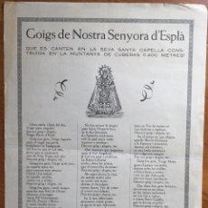 Arte: GOIGS DE NOSTRA SENYORA D' ESPLÀ (IMP. TORRES POBLA DE SEGUR). Lote 160654354