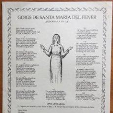 Arte: GOIGS DE SANTA MARIA DEL FENER ANDORRA LA VELLA (1988). Lote 160657634