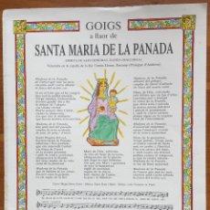 Arte: GOIGS DE SANTA MARIA DE LA PANADA SANT HONORAT RANDA, MALLORCA (1991) ENCAMP ANDORRA. Lote 160660870