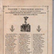 Arte: GOIGS PIADOSOS Y FERVOROSOS AFECTOS DE LA SANGRE DE JESUCRISTO (IMP. ROCA, MANRESA, 1892). Lote 160666870