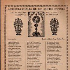 Arte: GOIGS ANTIGUES COBLES DE LES SANTES ESPINES SAMPEDOR (IMP. MALDEU, RIPOLL, 1932). Lote 160667310