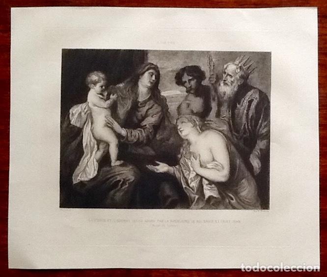 GRABADO. ADORACION DE LA VIRGEN Y EL NIÑO. VAN DYCK. ENVIO CERTIFICADO INCLUIDO. (Arte - Arte Religioso - Grabados)