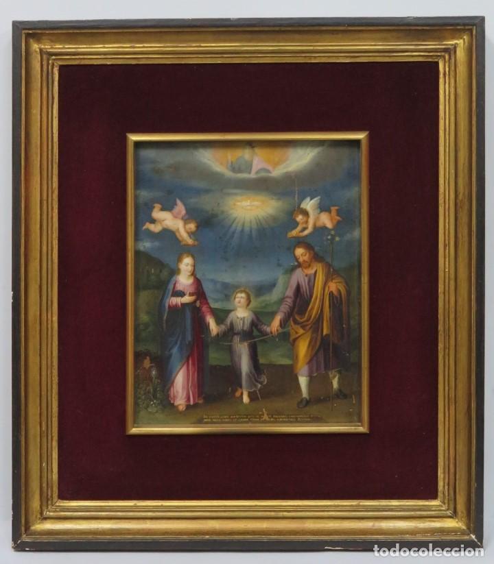 MAGNIFICA SAGRADA FAMILIA Y SANTISIMA TRINIDAD. OLEO S/ COBRE. SIGLO XVII. ESCUELA FLAMENCA (Arte - Arte Religioso - Pintura Religiosa - Oleo)