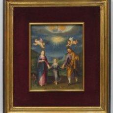 Arte: MAGNIFICA SAGRADA FAMILIA Y SANTISIMA TRINIDAD. OLEO S/ COBRE. SIGLO XVII. ESCUELA FLAMENCA. Lote 165684729