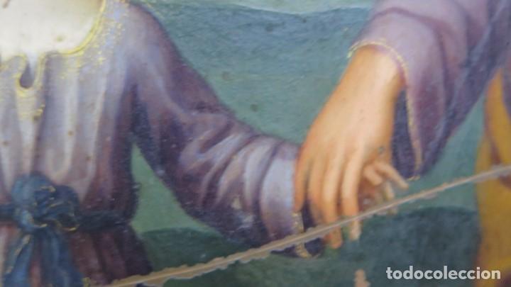 Arte: MAGNIFICA SAGRADA FAMILIA Y SANTISIMA TRINIDAD. OLEO S/ COBRE. SIGLO XVII. ESCUELA FLAMENCA - Foto 12 - 165684729