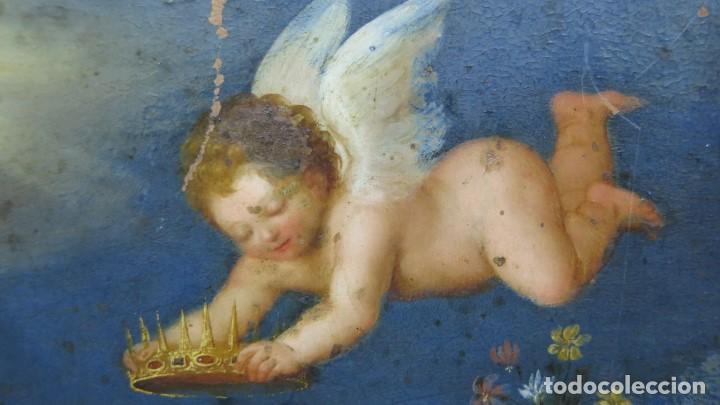Arte: MAGNIFICA SAGRADA FAMILIA Y SANTISIMA TRINIDAD. OLEO S/ COBRE. SIGLO XVII. ESCUELA FLAMENCA - Foto 32 - 165684729