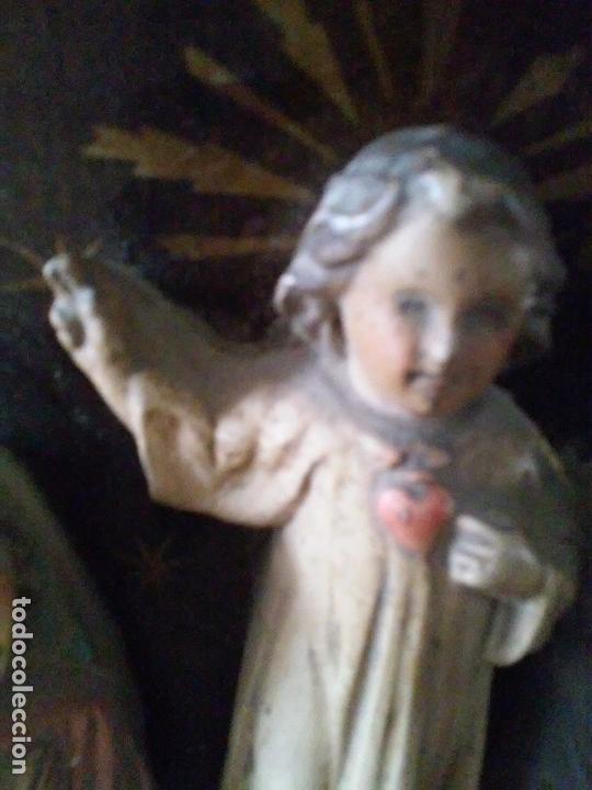Arte: Antiguo retablo Sagrada Familia en estuco policromado, escayola, talleres de Olot - Foto 3 - 160722354