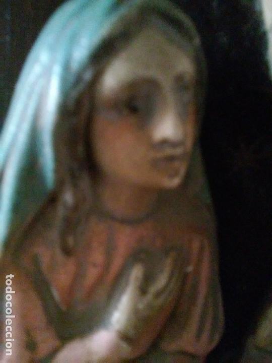 Arte: Antiguo retablo Sagrada Familia en estuco policromado, escayola, talleres de Olot - Foto 5 - 160722354