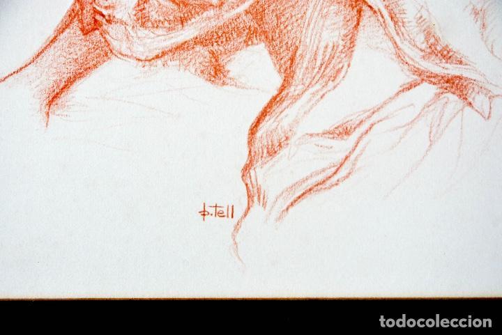 Arte: P.TELL RETRATO FEMENINO LÁPIZ COLORADO - Foto 2 - 161029182